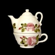 V.K.44-36 Romantik rózsás kiskanna csészével,kerámia,kézzel festett