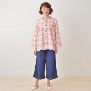 add-lush ダブルガーゼ ノーカラートップス&パンツセット【QVC】40代・50代レディースファッション