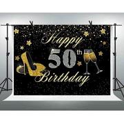 Zhyxia Zhy Glitter Gold Stars Happy 50th Birthday Photography Telón de Fondo 7x5ft Brillante Tacón Alto Champagne Silver 50 Cumpleaños Cincuenta años Cumpleaños Banner Telón de Fondo Photobooth Studio Prop