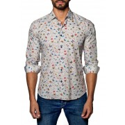 Jared Lang Insect Print Trim Fit Shirt TAN BUTTERFLY