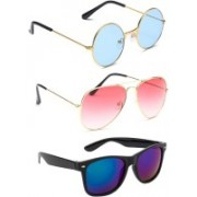 Elgator Aviator, Round, Wayfarer Sunglasses(Blue, Pink, Blue)