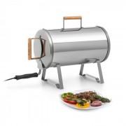 Klarstein Gourmet Barrel Smoker rosfritt stål 0,6mm trähandtag silver