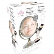 Geen Make-up spiegel 2-zijdig zilverkleurig 8 cm