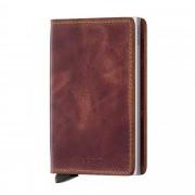 Secrid Slimwallet liten plånbok i skinn och metall, Brun