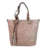 Elegantní kabelka na rameno se zlatými doplňky 2181-BB růžová