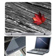 FineArts Laptop Skin - Red Leave on Wood With Screen Guard and Key Protector - Size 15.6 inch