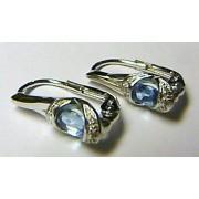 Diamantové zlaté luxusní náušnice s diamanty (12ks) a 2ks BLUE TOPAZ 585/2,50 gr