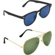 Zyaden Rectangular, Aviator Sunglasses(Blue, Green)