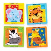 Baker Ross Jungle Animal Sliding Puzzles - 5 Pocket Puzzles In 5 Assorted Designs. Brain Teasers For Kids. Jungle Party Bag Fillers. Size 6.3cm x 6.3cm.