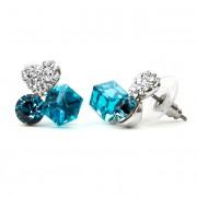 Nadin Swarovski kristályos fülbevaló - Kék kocka-szív