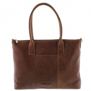 Plevier Dames Leather Tote Businessbag 483 Cognac 15 inch
