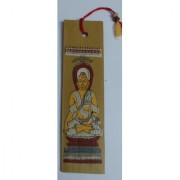 A beautiful pattachitra screen printed book mark made of palm leaf depicting Buddha the Learned One.