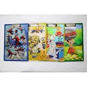 Cartoon Printed Smart 3D Exam Boards / Writing Pad (Assorted Design) / Return Gift / Birthday Gifts Online - Pack of 4 (Set of 4, Multicolor)