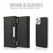 Litchi Texture Detachable Leather Cover Wallet Phone Case for iPhone 11 Pro 5.8 inch - Black