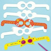 Baker Ross Design Your Own Card Glasses - Plain white card glasses shapes for kids to decorate. 35cm wide.