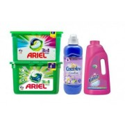Pachet 4 x Detergent Ariel 3in1 pods Mountain Spring 15 spalari+ Detergent Ariel 3in1 pods Color 15 spalari+ Coccolino 925 ml+Vanish pink 1l