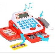 Cash Register with Checkout Scanner Credit Card Reader Microphone Play Money and Playset