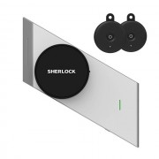 Incuietoare inteligenta Sherlock S2, aplicatie iOS/ Android, chei virtuale Bluetooth, 2 Smart key, Touch, dreapta, Argintiu