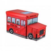 Shag Folding Storage Box Stool Bus Shaped For Kid's - Multi Color