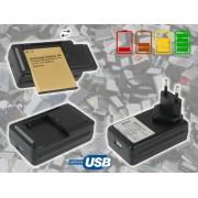NTR CHAR28 Univerzális 3,7V Li-ion akkutöltő (mobiltelefon akkukhoz) LCD kijelzővel + USB