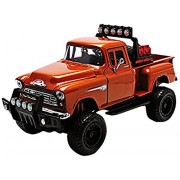 Motormax 79133or 1955 Chevrolet 5100 Stepside Pickup Truck Off Road Orange 1-24 Diecast Model