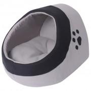 vidaXL Къща за котка, сиво и черно, L