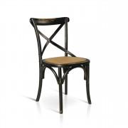 Milani Home ABBY - sedia moderna in legno con seduta in paglia