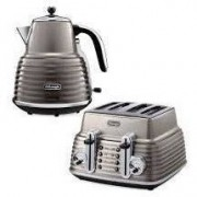Delonghi Scultura Combo - 4 slice Toaster and 1.5L Kettle Free Delivery - Bronze Beige