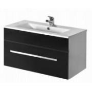Závesná skrinka s umývadlom ASTON 90 S - čierna