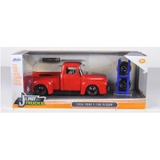"1956 Ford F 100 Red Pickup Truck ""Just Trucks"" With Extra Wheels 1/24 By Jada 97684"