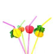 Kit Com 480 Canudos Frutas Para Drinks Coloridos