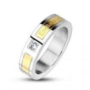 6 mm - Örökké tartó szerelem - arany és ezüst színű nemesacél gyűrű ékszer