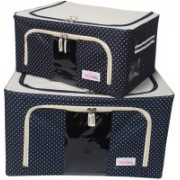 BlushBees Living Box - Utility Combo Storage Boxes Saree Cover - 24 + 55 Litre Pack of 2, Polka Dots Blue(Blue)