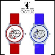 Peacock Red And Black Colour Round Dial Analog Watches Combo For Girls And Womens by MORLI