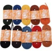 Lify Formal Flat Combo Shoe Lace(Black, Teak, Tan, Coffee, Red, Orange, Yellow, Sky Blue, Royal Blue, Dark Green Set of 10)