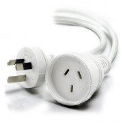 ALOGIC 5m Aus 3 Pin Mains Power Extension Cable WHITE Male to Female