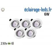 Kit 5 Spots LED GU10 Blanc Naturel encastrable blanc orientable Perçage 70mm Ref Kgu10-09