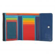 Skórzany mały portfel damski DuDu®, 534-1160 czarny z kolorowym środkiem