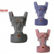 Marsupiu bebe ergonomic cu scaunel 6 pozitii BECUTE Jeans