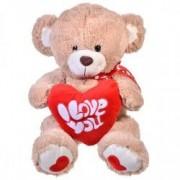 Ursulet de plus Bej cu Inima - 38 cm