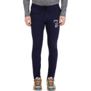 Cliths Navy Blue Cotton Printed Trackpant for Men