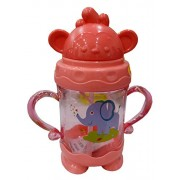 Toys Factory Just Mom Cute Baby Bpa Free Unbreakable Baby Infant pp Water/Juice Training Gravity Sipper Cup with Handles & Dust Free Cover Lid