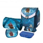 Ghiozdan ergonomic echipat (sac sport, necessaire triunghiular, penar echipat cu 17 piese, cutiuta sandwich) dimensiune 36x39x22 cm motiv Flexi Plus Piratebay