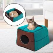 PawHut Cama para Gatos Verde y Cafe Lona 41x41x32cm