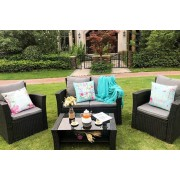 4-Seater Rattan Garden Furniture Set w/ Optional Cover - 3 Colours!
