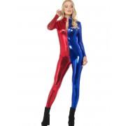 Vegaoo.es Traje mono bi-color azul rojo sexy mujer - M