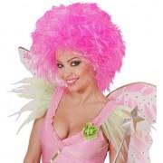 Geen Neon roze dames pruik met kort haar