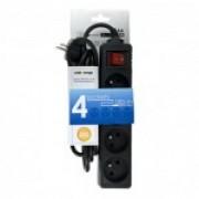 Whitenergy Prelungitor cu Protectie 4 prize 1.8m negru