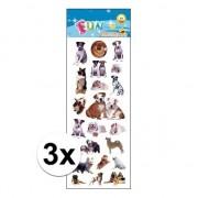Geen 3x Poezie album stickers honden