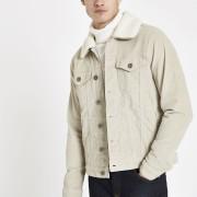 River Island Mens Beige borg line cord jacket (M)